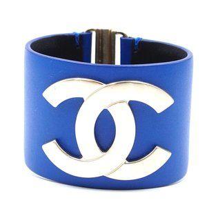 Chanel Gold Blue Leather Wide Cc Glide Lock Cuff